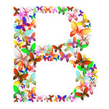 Bokstaven B utgjorde av massor av fjärilar av olika färger Royaltyfria Bilder