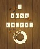 Bokstaven belägger med tegel stavning som jag älskar kaffe Royaltyfri Bild