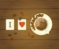 Bokstaven belägger med tegel stavning som jag älskar kaffe Fotografering för Bildbyråer