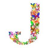 Bokstaven J utgjorde av massor av fjärilar av olika färger Royaltyfri Foto