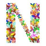 Bokstaven N utgjorde av massor av fjärilar av olika färger Royaltyfri Foto