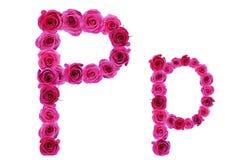 Bokstaven p från rosor Royaltyfri Bild