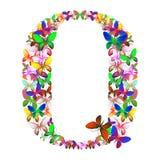 Bokstaven Q utgjorde av massor av fjärilar av olika färger Royaltyfri Fotografi