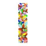 Bokstaven som jag utgjorde av massor av fjärilar av olika färger Arkivfoto