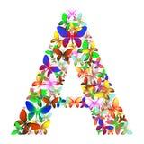 Bokstaven A utgjorde av massor av fjärilar av olika färger Royaltyfria Foton