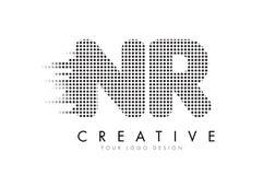 Bokstavslogo för NR N R med svartprickar och slingor Royaltyfri Fotografi