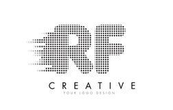 Bokstavslogo för RF R F med svartprickar och slingor Fotografering för Bildbyråer