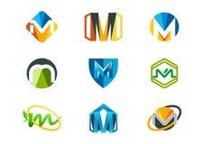 bokstavslogo M vektor illustrationer