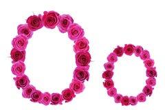 Bokstavsnolla av rosor Arkivfoton