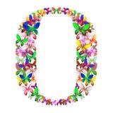 Bokstavsnollan utgjorde av massor av fjärilar av olika färger Royaltyfri Foto