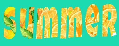Bokstavssommar från apelsiner på en grön bakgrund ner baner, reklamblad, royaltyfri illustrationer