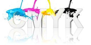 Bokstäver för CMYK-målarfärgfärgstänk Arkivfoton