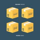 Boksuje ikony ustawiać Upakowani pudełka tło pracownik pudełkowaty doręczeniowy przystojny odosobniony nadmierny usługowy biały K Fotografia Stock