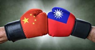 Bokswedstrijd tussen China en Taiwan Stock Afbeelding