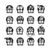 Boksymbolsuppsättning stock illustrationer