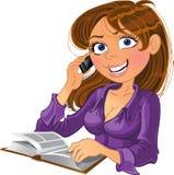 boktelefonkvinna royaltyfri illustrationer
