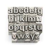 Boktryck - alfabet och nummer för kvarterbokstav engelskt Royaltyfri Fotografi