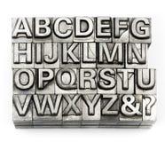 Boktryck - alfabet och nummer för kvarterbokstav engelskt Royaltyfri Bild