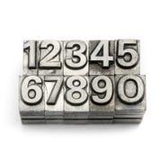 Boktryck - alfabet och nummer för kvarterbokstav engelskt Royaltyfria Bilder