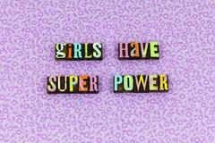 Boktryck för kurage för toppen makt för flicka modig arkivfoton