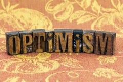 Boktryck för positiv inställning för optimism Arkivbild