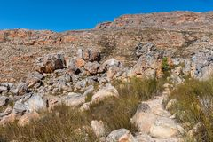 Bokveldskloof hiking traill to the Maltese Cross. The Bokveldskloof hiking trail to the Maltese Cross near Dwarsrivier in the Cederberg Mountains of the Western stock image