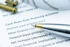 Bolígrafo azul en el informe anual de una empresa cuando la declaración de los flujos de liquidez ha sido analizada por el analis fotos de archivo libres de regalías