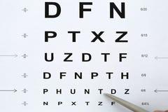 Bolígrafo de plata que señala a la letra en tabla del control de la vista Foto de archivo libre de regalías