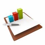 Bolígrafo, diagrama y libreta Fotos de archivo libres de regalías