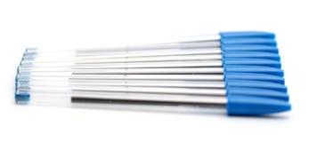 Bolígrafos azules stock de ilustración
