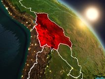 Bolívia do espaço durante o nascer do sol Fotos de Stock