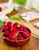 Bol complètement de radis sur la table en bois Images stock
