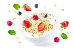 Bol d'avoine avec l'éclaboussure des framboises de lait et de vol, des myrtilles et des fraises photos libres de droits