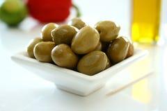 Bol d'olives vertes 1 Image libre de droits