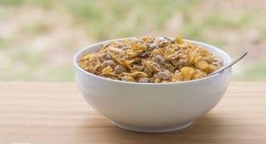Bol de céréale de petit déjeuner par la fenêtre Image stock