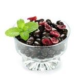 Bol de canneberges recouvertes de chocolat Photographie stock