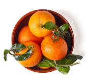 Bol de mandarines d'isolement sur le blanc d'en haut Photos libres de droits