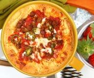 Bol de pâtes de pizza de boulette de viande de saucisse Photographie stock
