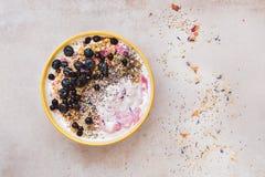 Bol de petit déjeuner de myrtille de noix de coco avec des graines de chia Images stock
