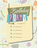 Bol de pizza d'invitation de fête d'anniversaire rétro illustration stock