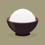 Bol de riz cuit à la vapeur cuit illustration de vecteur