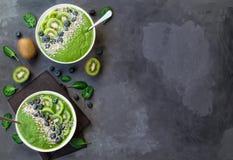 Bol de smoothie de vert de petit déjeuner avec le kiwi, les myrtilles et les graines de tournesol photos libres de droits