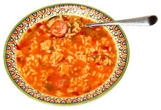 Bol de soupe à gombo de Cajun dans la cuvette Photographie stock
