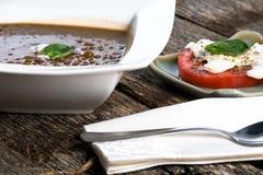Bol de soupe à lentille Photographie stock