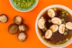 Bol de soupe à oignon d'espace libre de style japonais avec des champignons et Sprin Photos stock