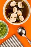 Bol de soupe à oignon d'espace libre de style japonais avec des champignons et Sprin Image libre de droits