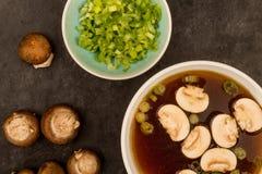 Bol de soupe à oignon d'espace libre de style japonais avec des champignons et Sprin Photographie stock