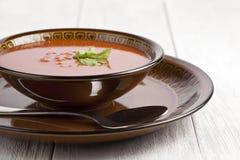 Bol de soupe à tomate Images stock