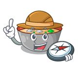 Bol de soupe miso à explorateur sur le caractère de table illustration de vecteur