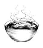 Bol de soupe tiré par la main Image stock